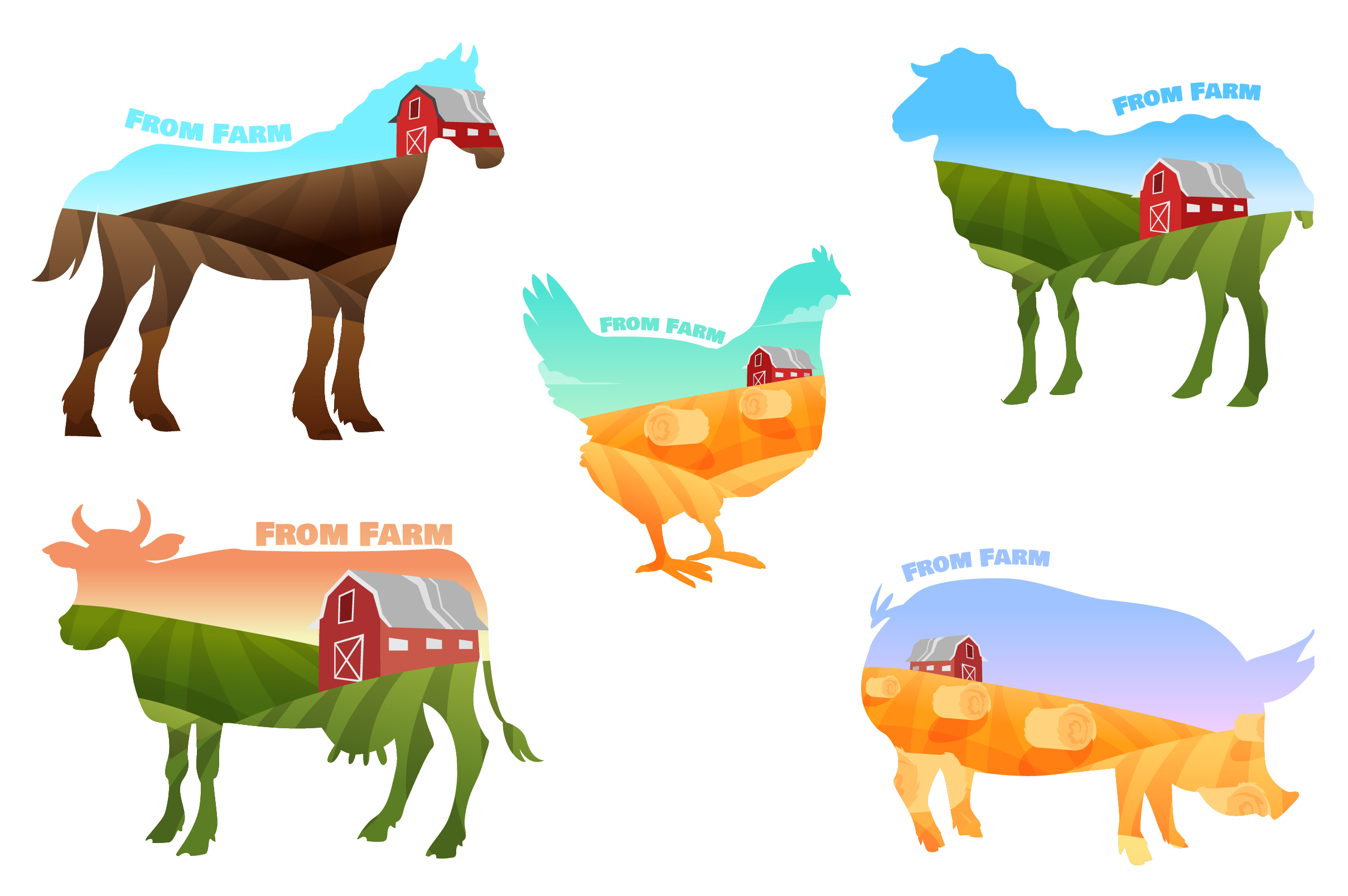 Vector Farm set of animals and landscapes + bonus patterns example image 1