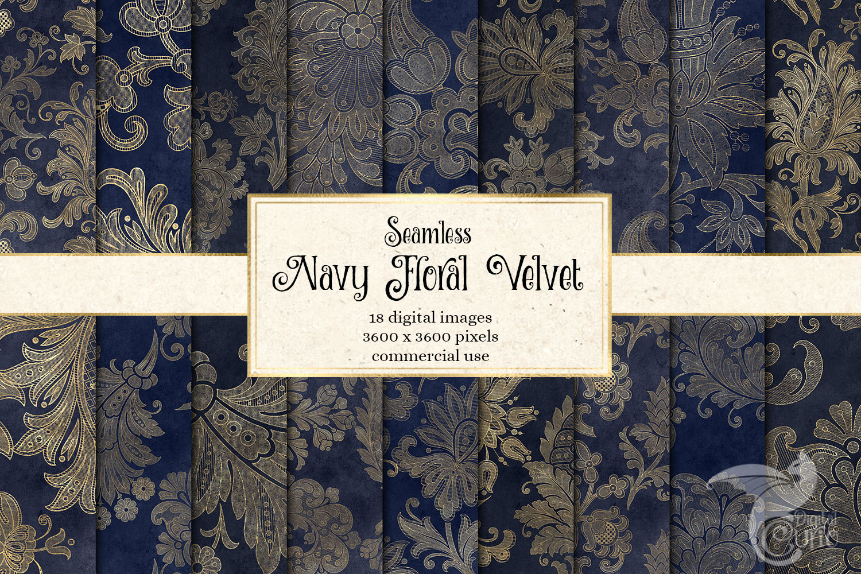 Navy Floral Velvet Digital Paper example image 1