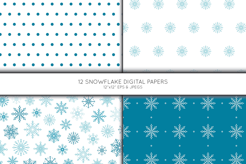 Snowflake Digital Paper, Snowflake Scrapbook paper example image 4
