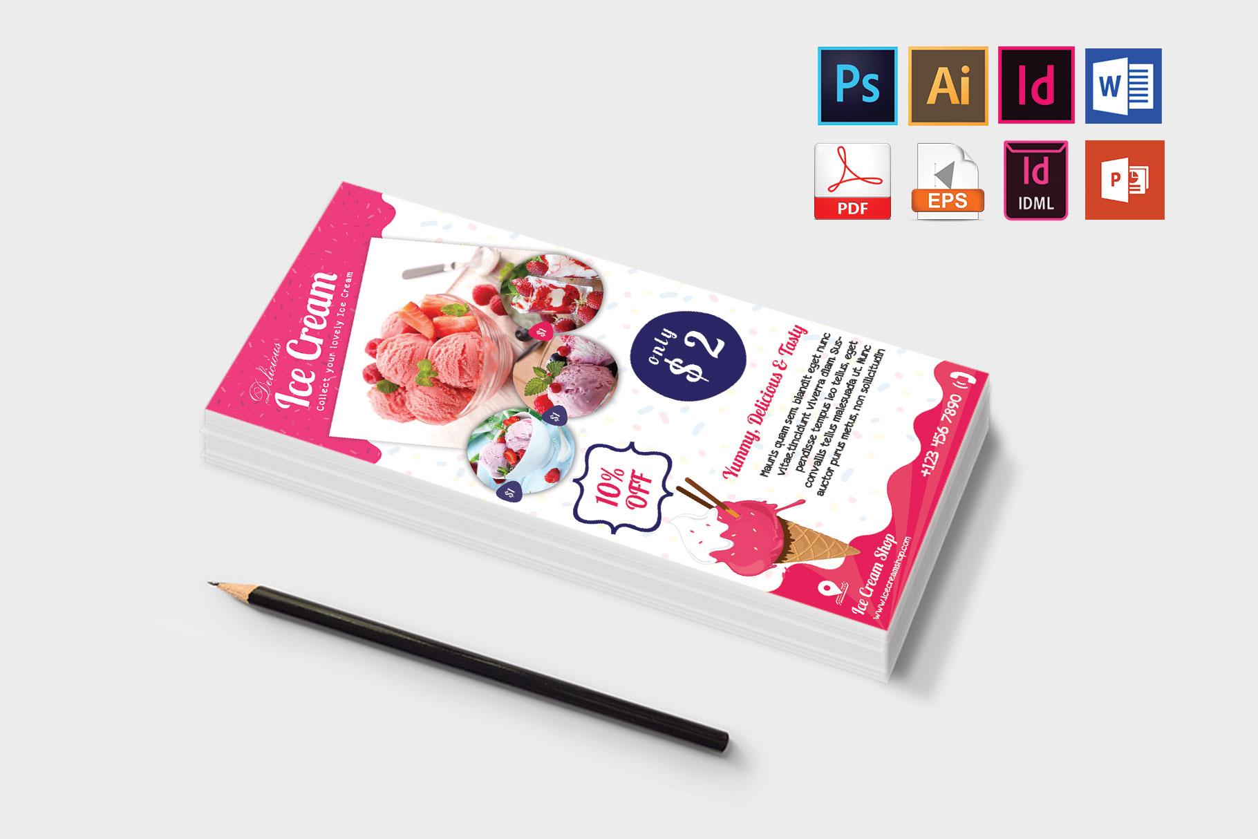 Rack Card | Ice Cream Shop DL Flyer Vol-01 example image 3