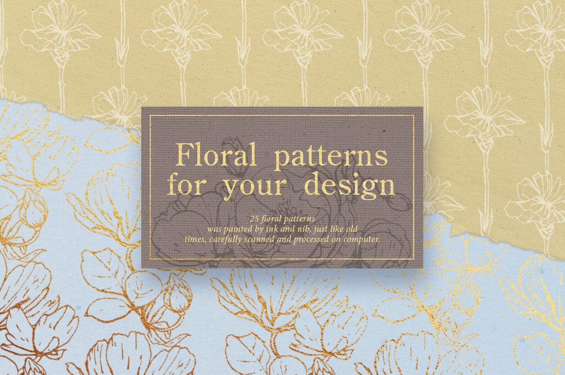 Flower outlines & patterns example image 3