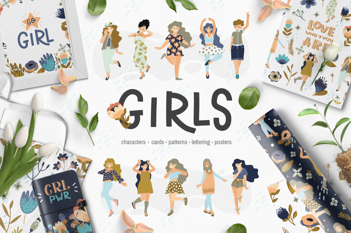Girls - vector big collection example image 1