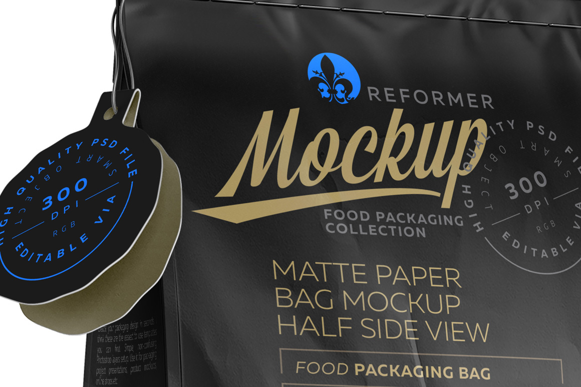 Black Paper Bag with Window Poster Mockup example image 3