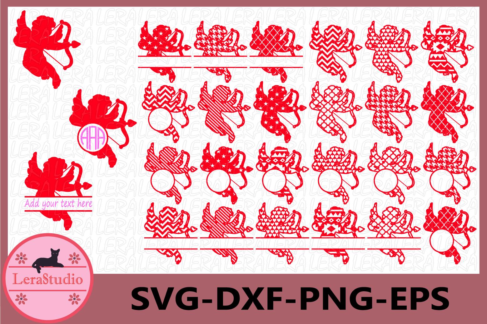 Cupid Svg, Cupid Monogram, Cupid Valentine File svg example image 1