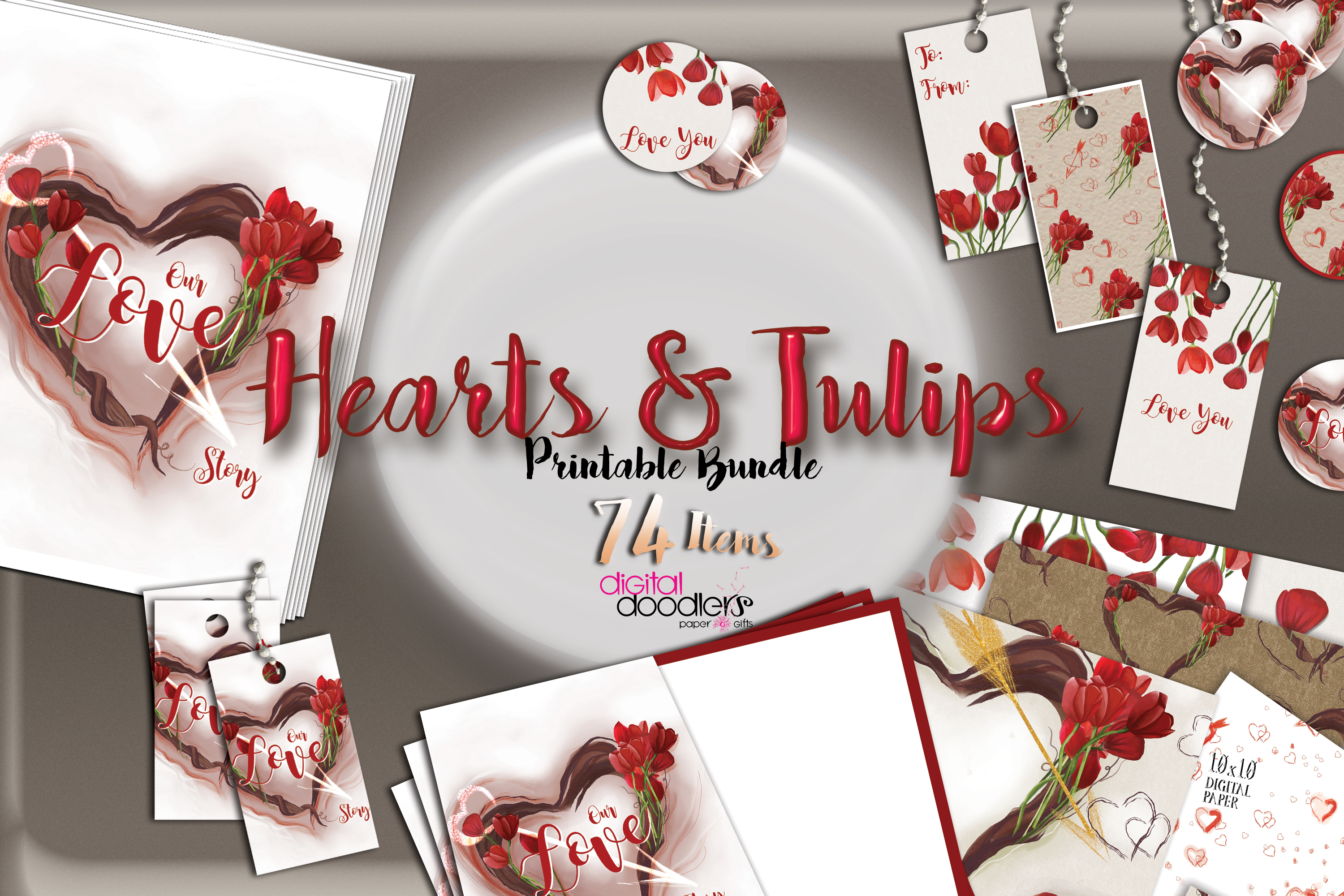 Hand Painted Hearts & Tulips Bundle example image 4