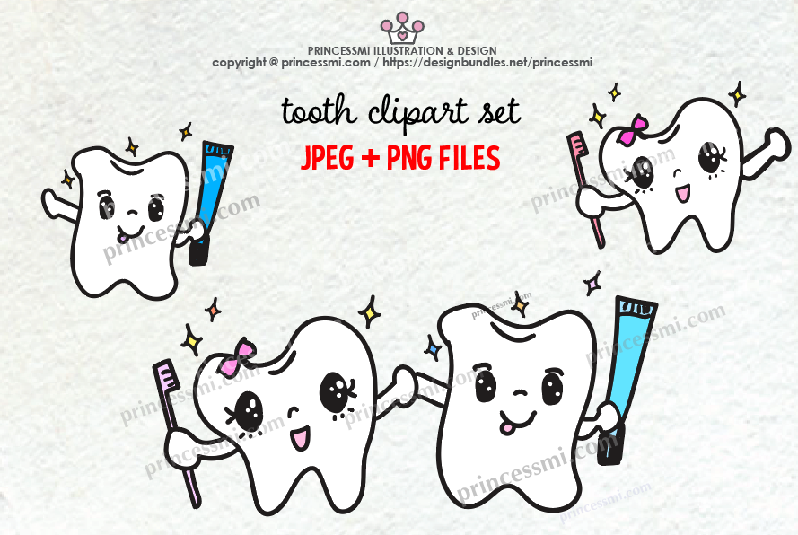 Cute TOOTH illustration clipart set example image 1