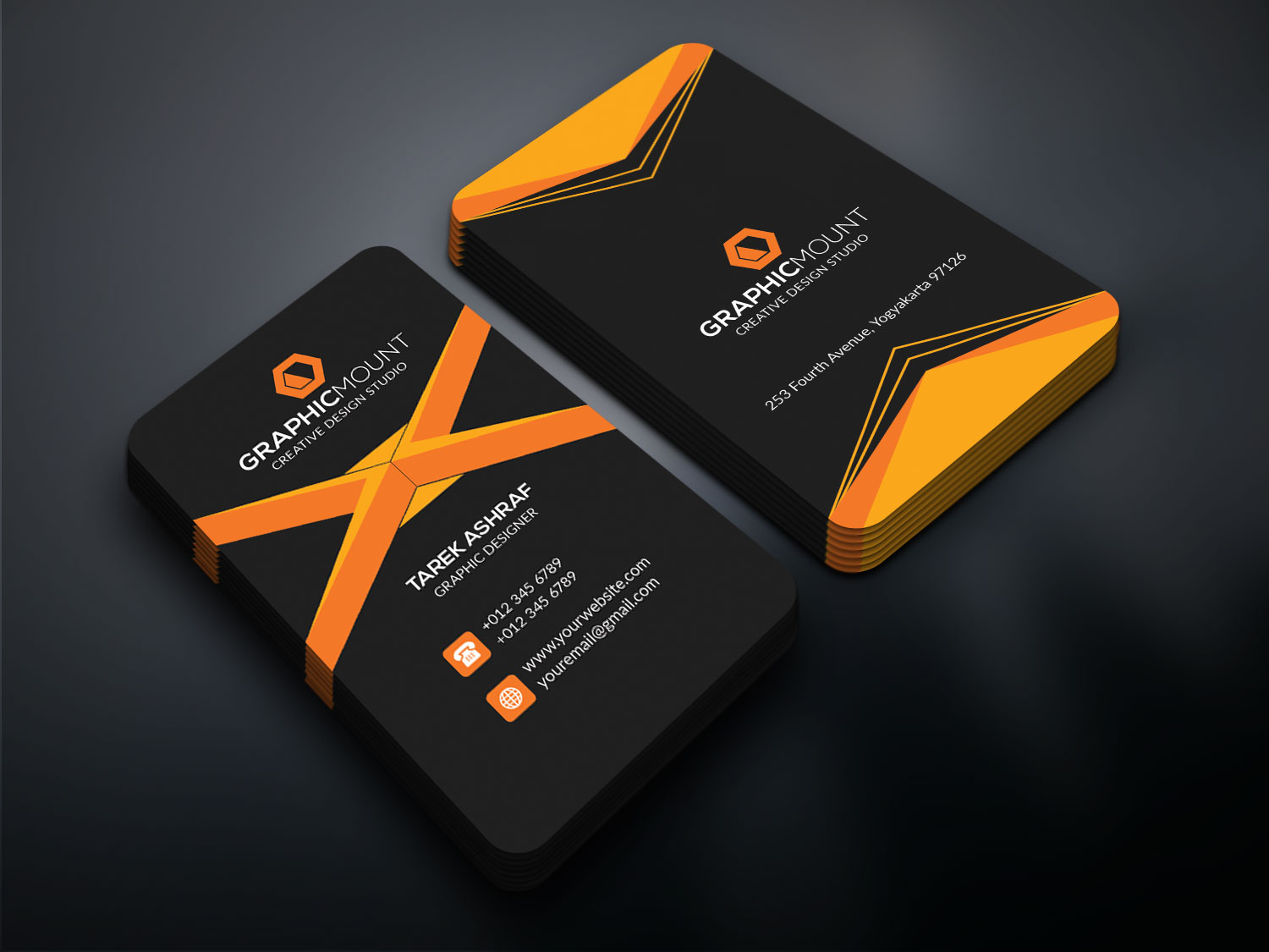 Creative business card by tarek elhelow design bundles creative business card example image 1 reheart Image collections