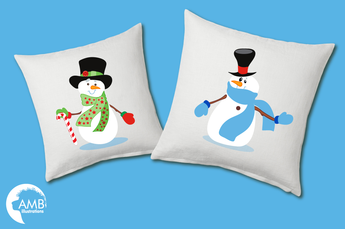 Snowmen in tophats clipart, graphics, illustrations AMB-502 example image 5