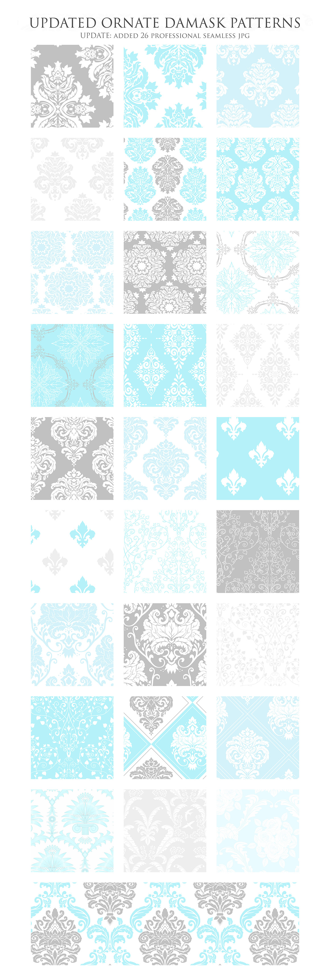 Blue and Grey Damask Patterns - Seamless Digital Papers example image 3