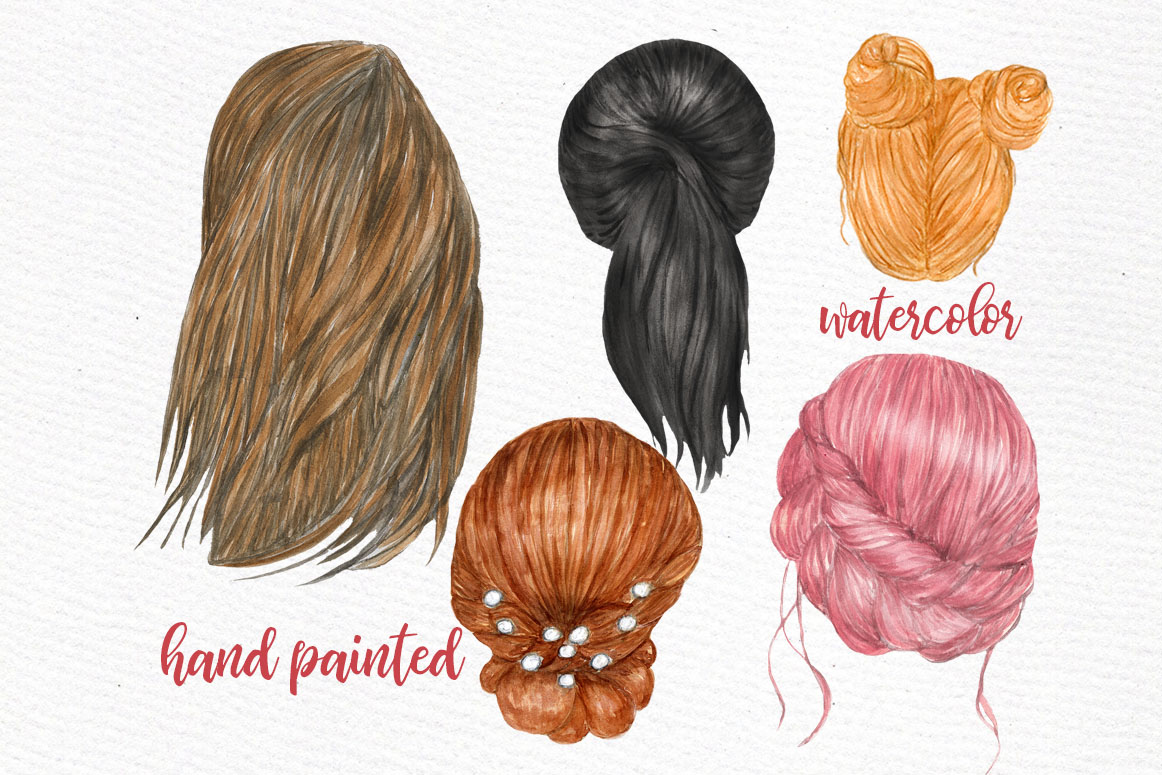 Hairstyles clipart Custom hairstyles Long hair Planner Girls example image 2