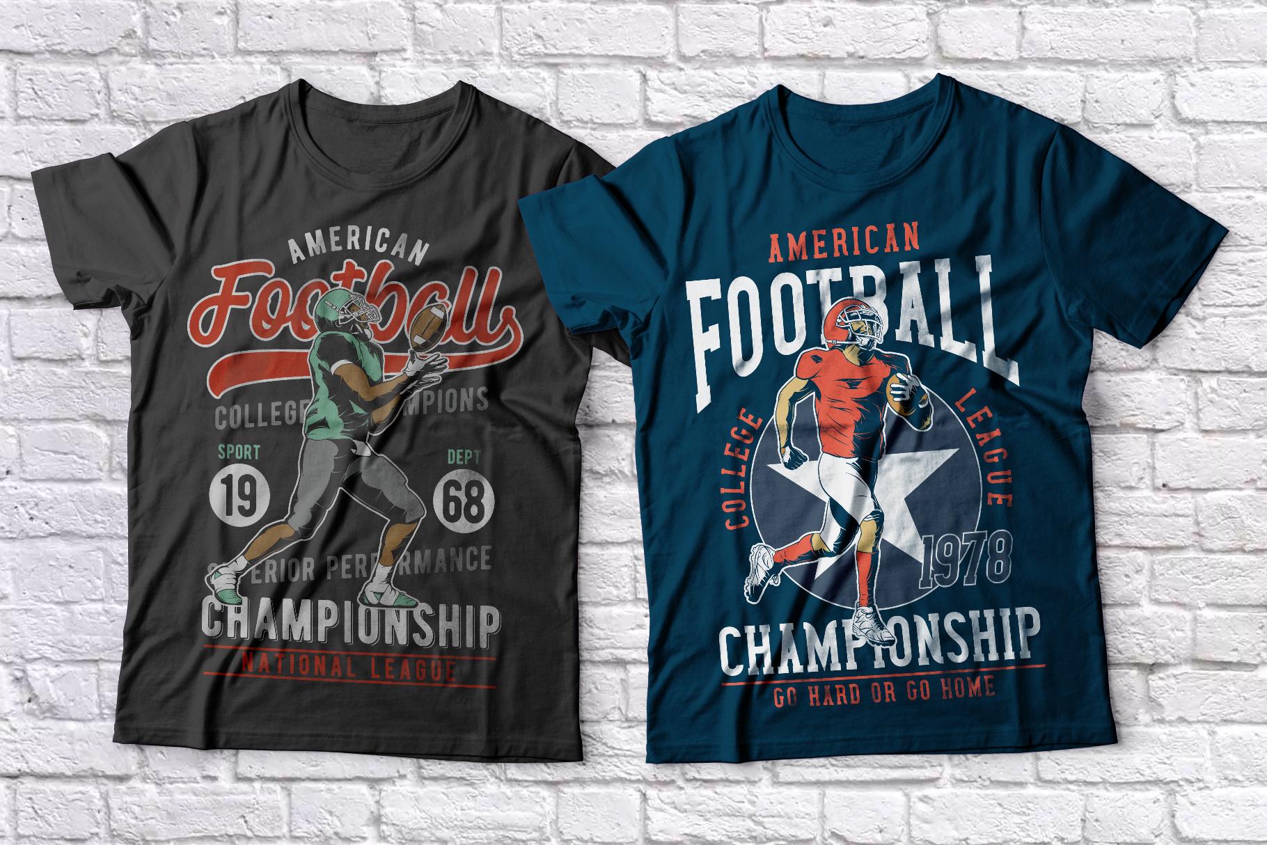 American football t-shirts set example image 2