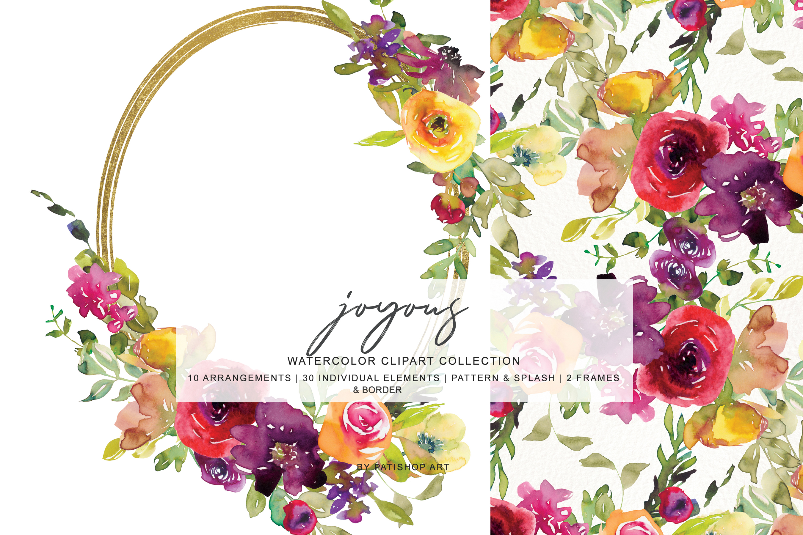 Watercolor Burgundy and Yellow Floral Bouquet Clipart example image 2