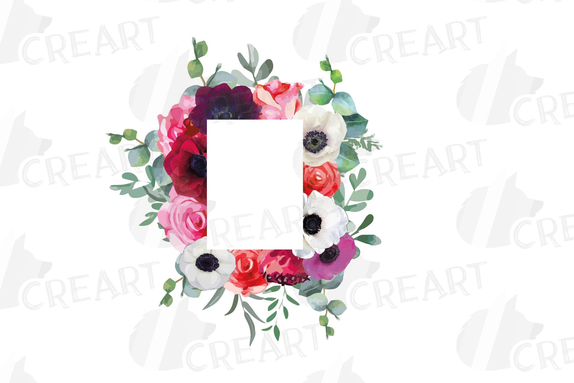 Watercolor elegant floral borders, rose, anemone frames example image 16