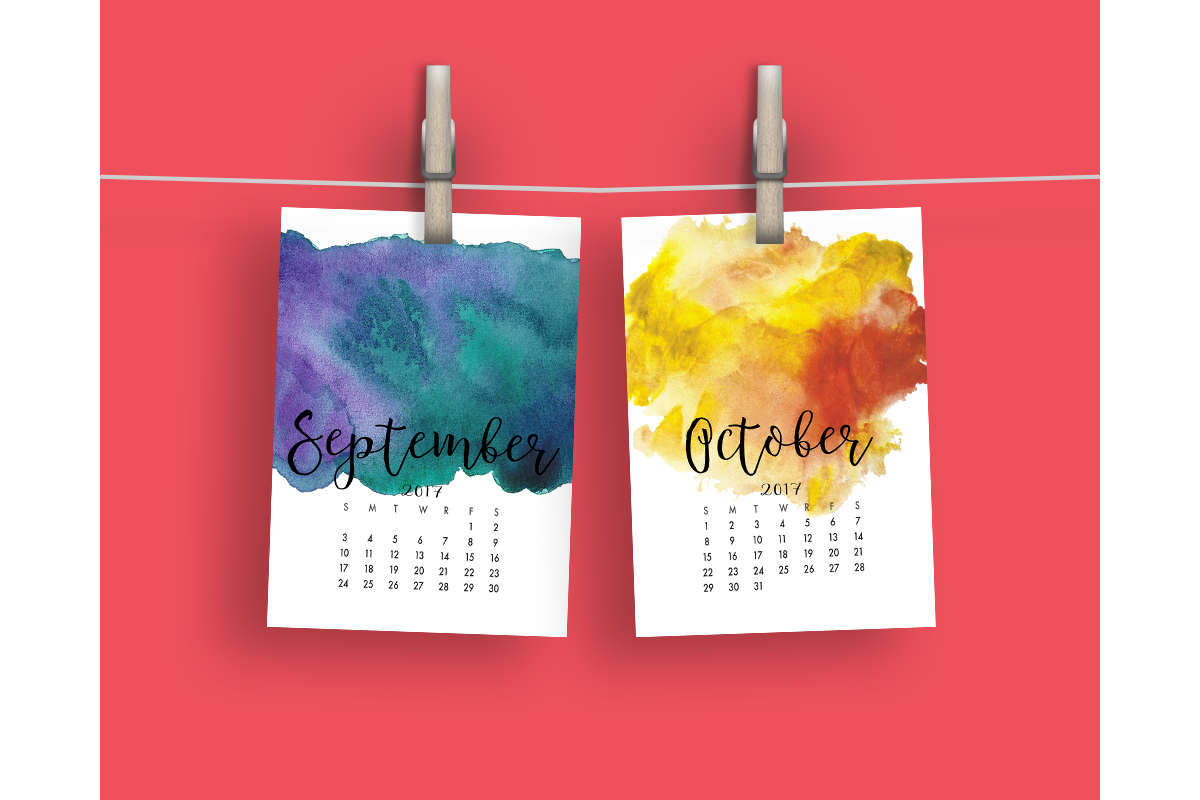 2017 Hand Paint Watercolor Calendar  example image 6