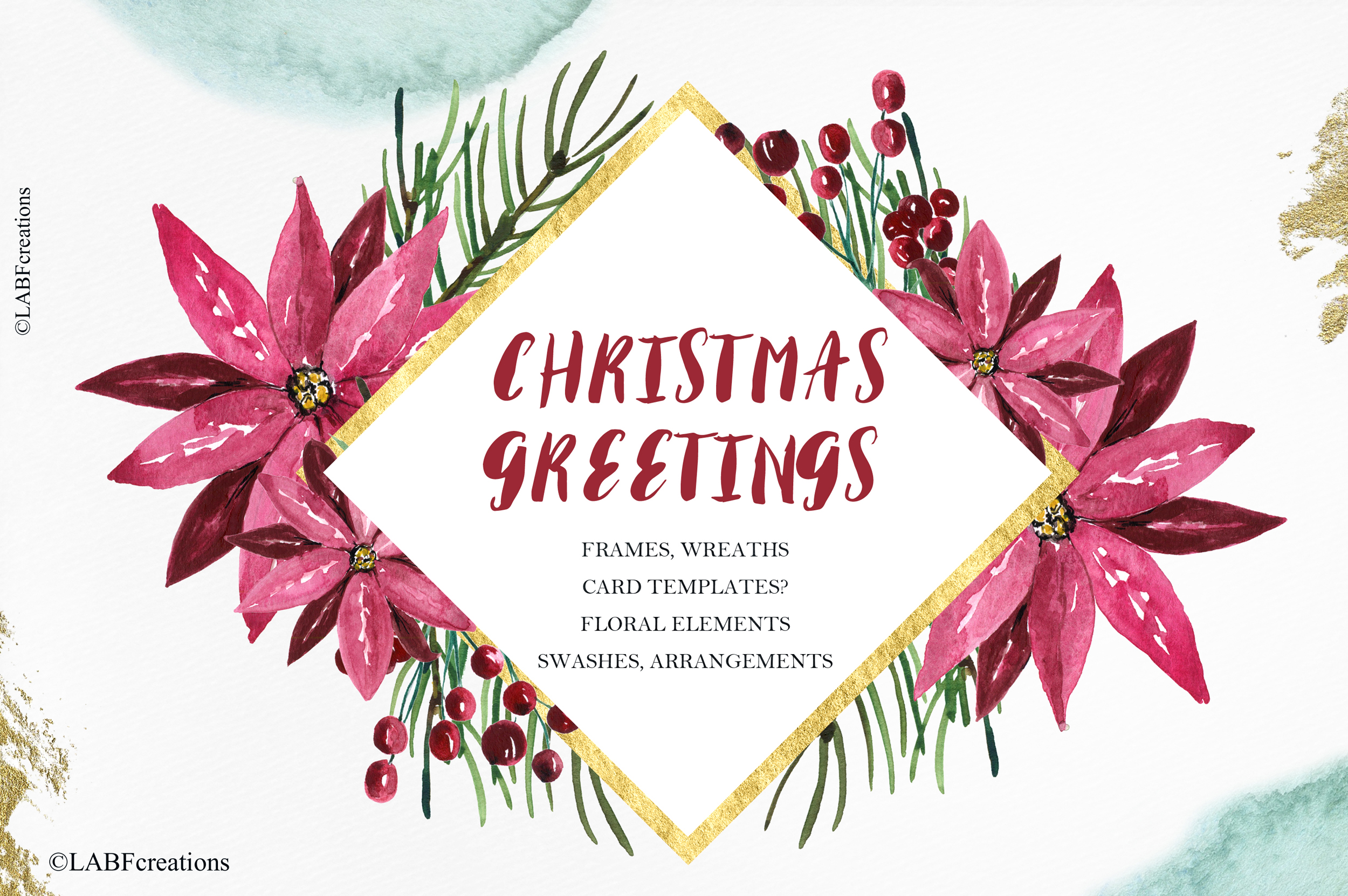 Christmas greetings. Hand drawn watercolor collection. example image 7