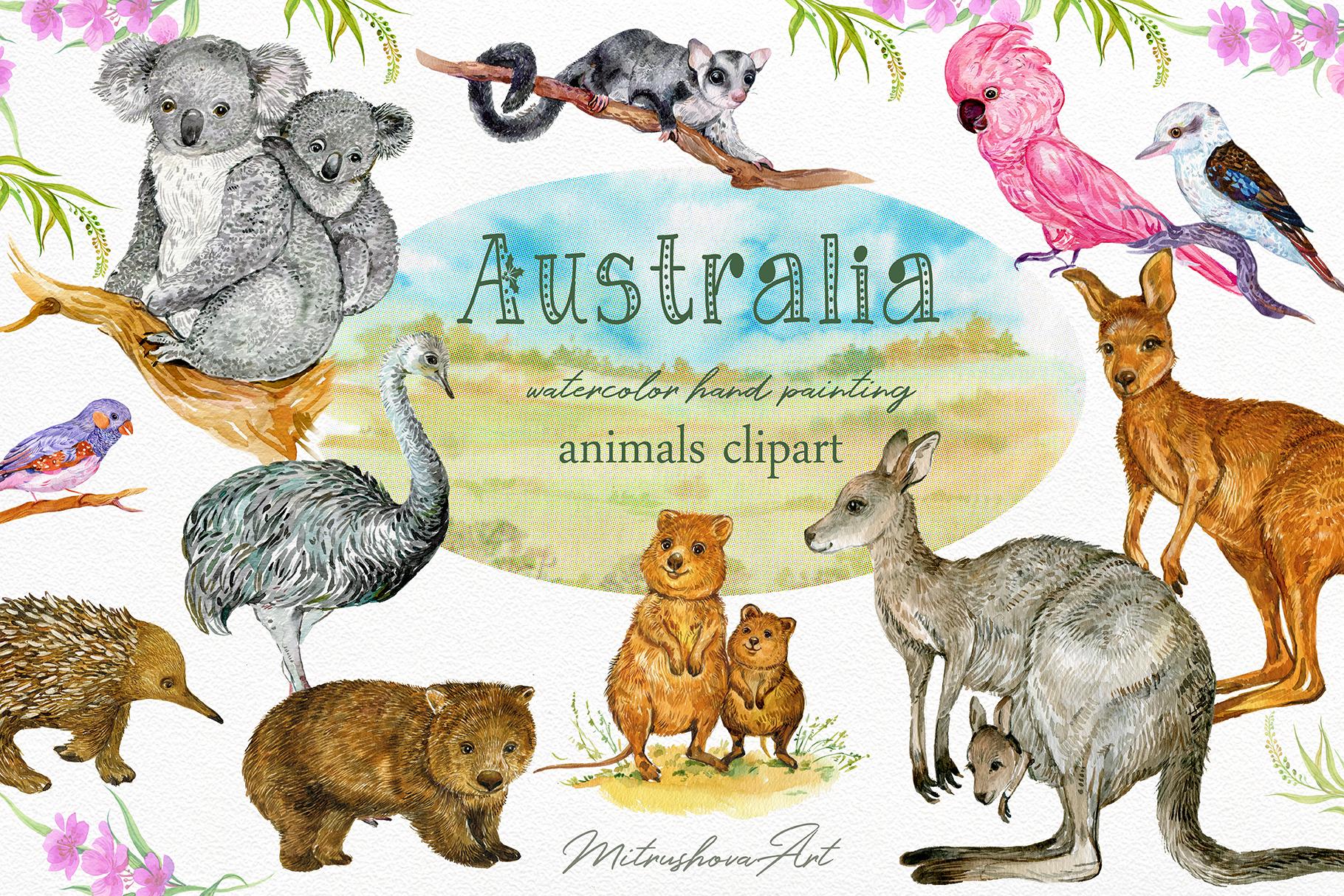 Animals Australia Watercolor example image 1