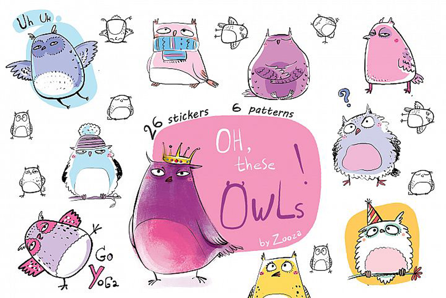 Funny Owls Bundle - 3 collections in 1 pack example image 9
