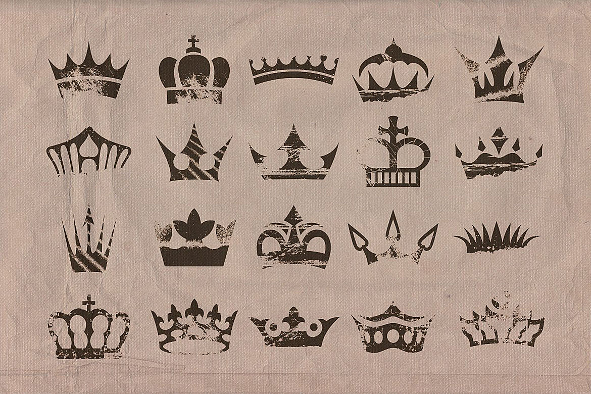 Retro/Vintage shapes - Crowns 2 example image 2