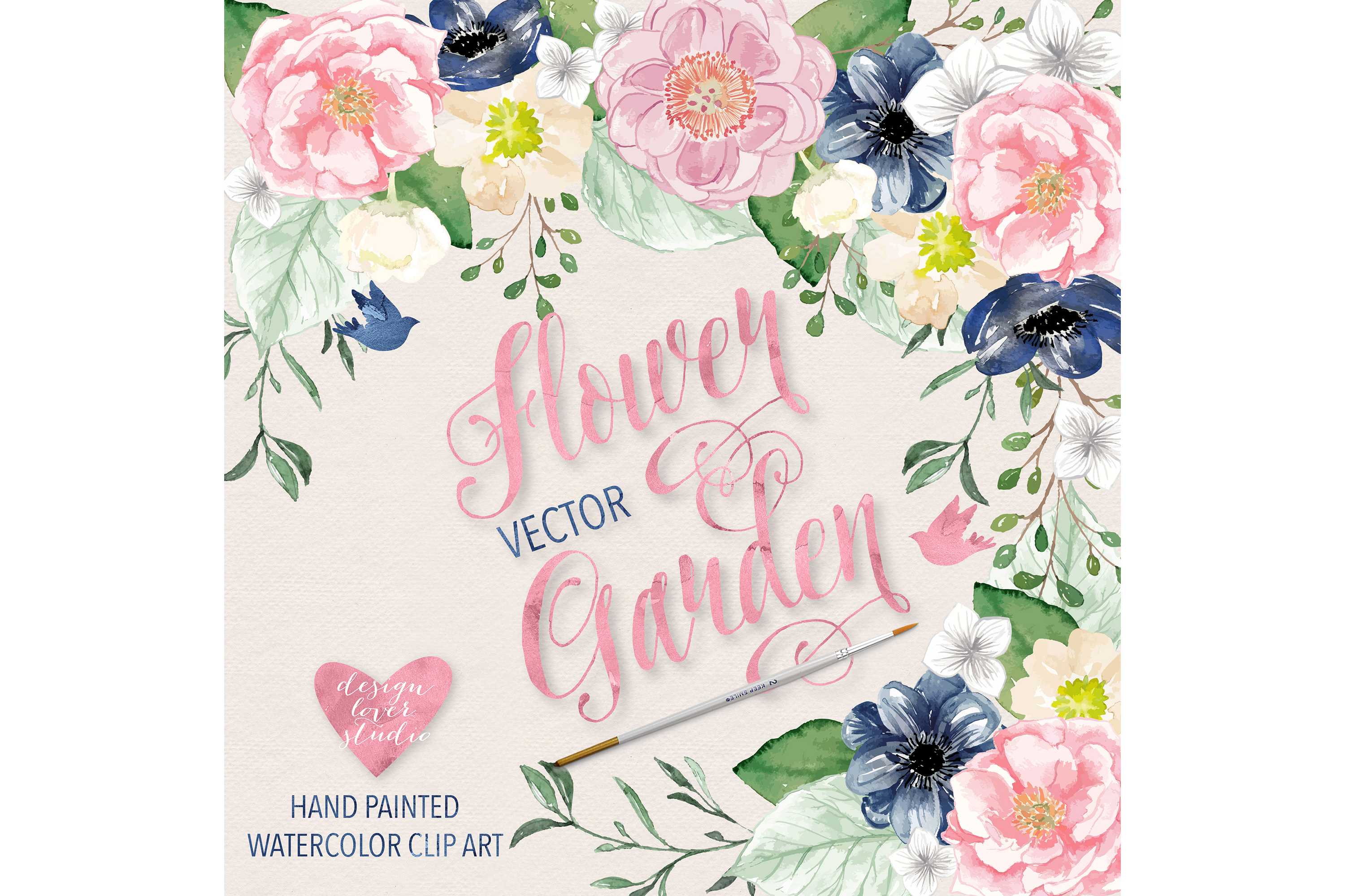 Vector Watercolor Navy blue and Pink Flower Garden clipart example image 2