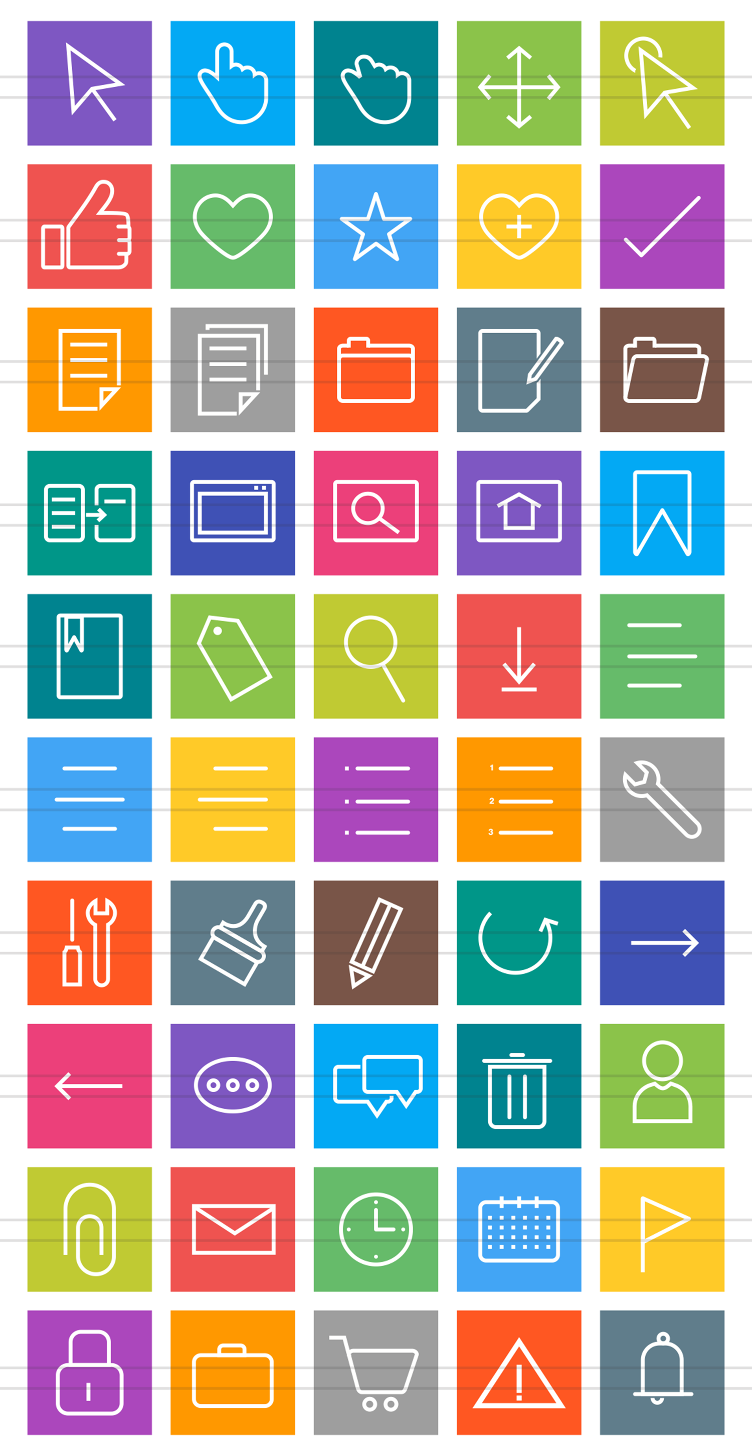 50 Interface Line Multicolor B/G Icons example image 2