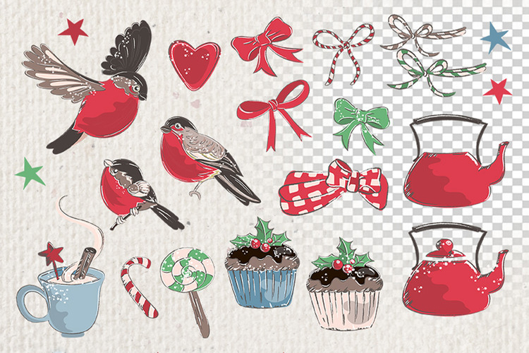 MERRY CHRISTMAS Color Clipart Illustration Set example image 2