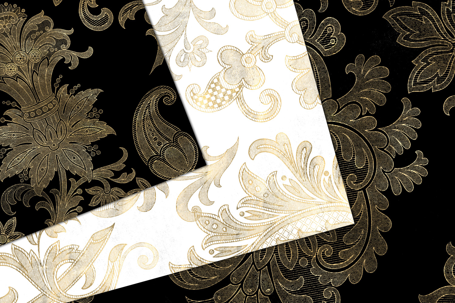 Black White and Gold Floral Digital Paper example image 3