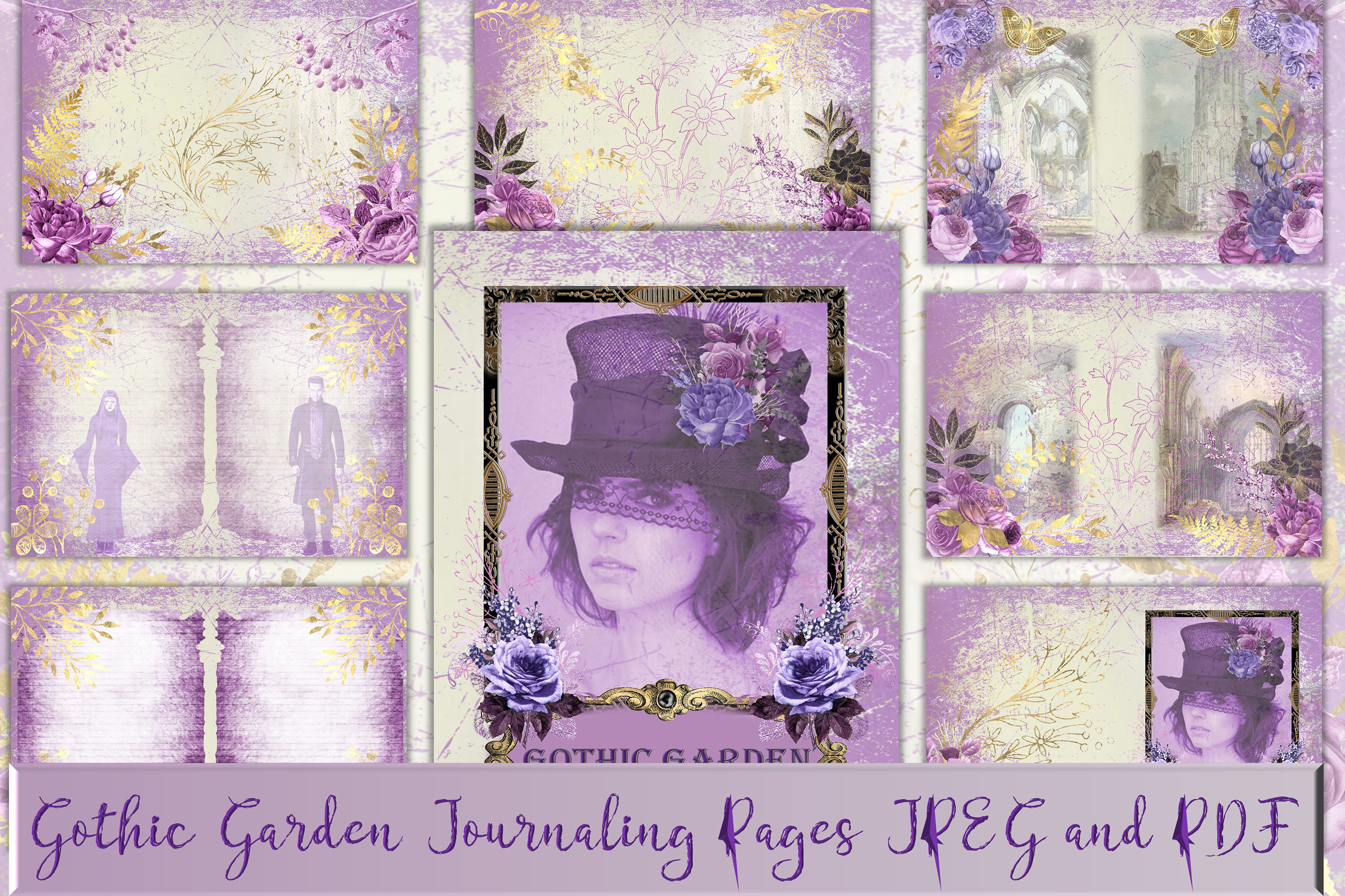 Gothic Garden Backgrounds A4 Letter Size JPEG & PDF example image 1