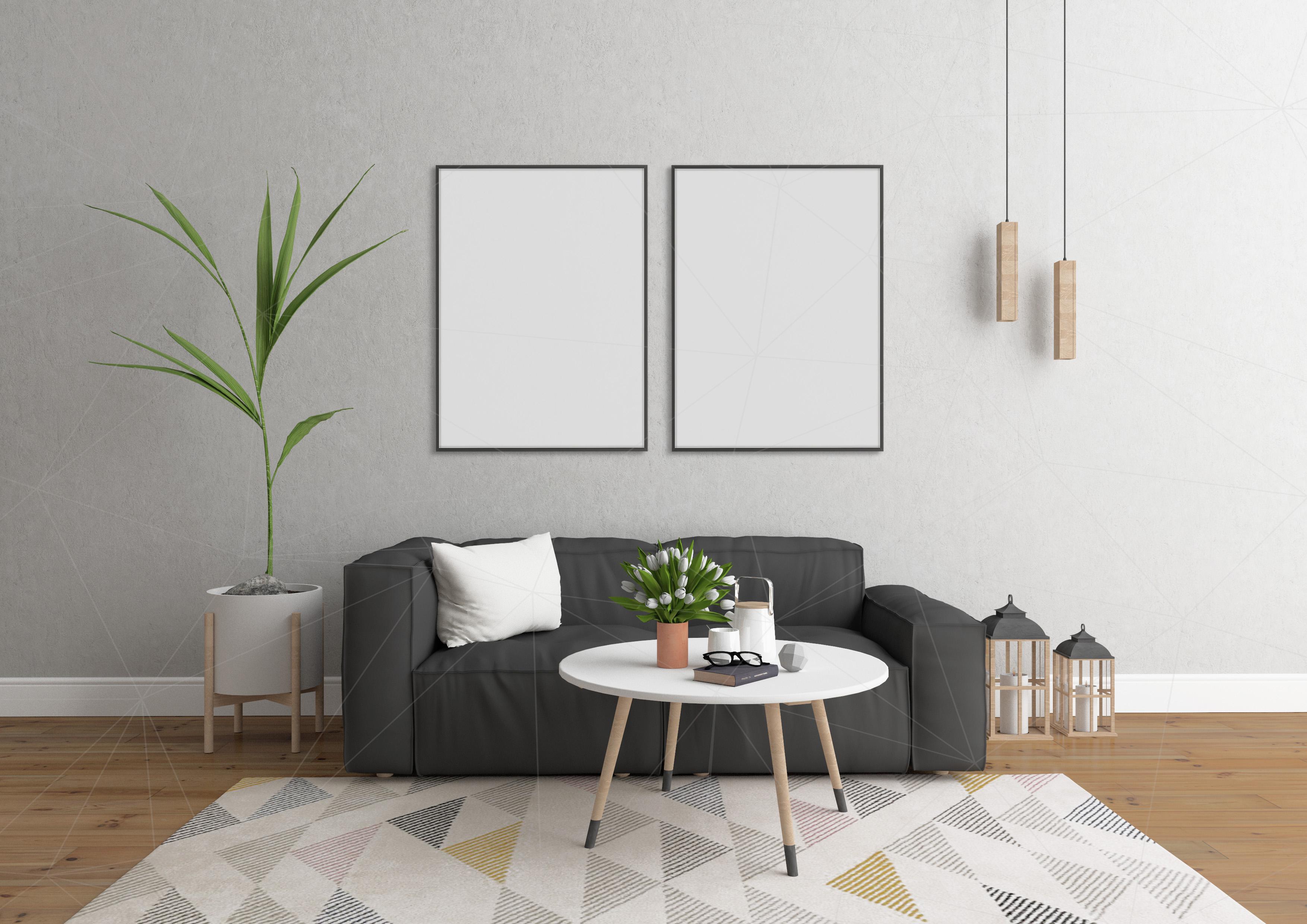 Interior mockup bundle - blank wall mock up