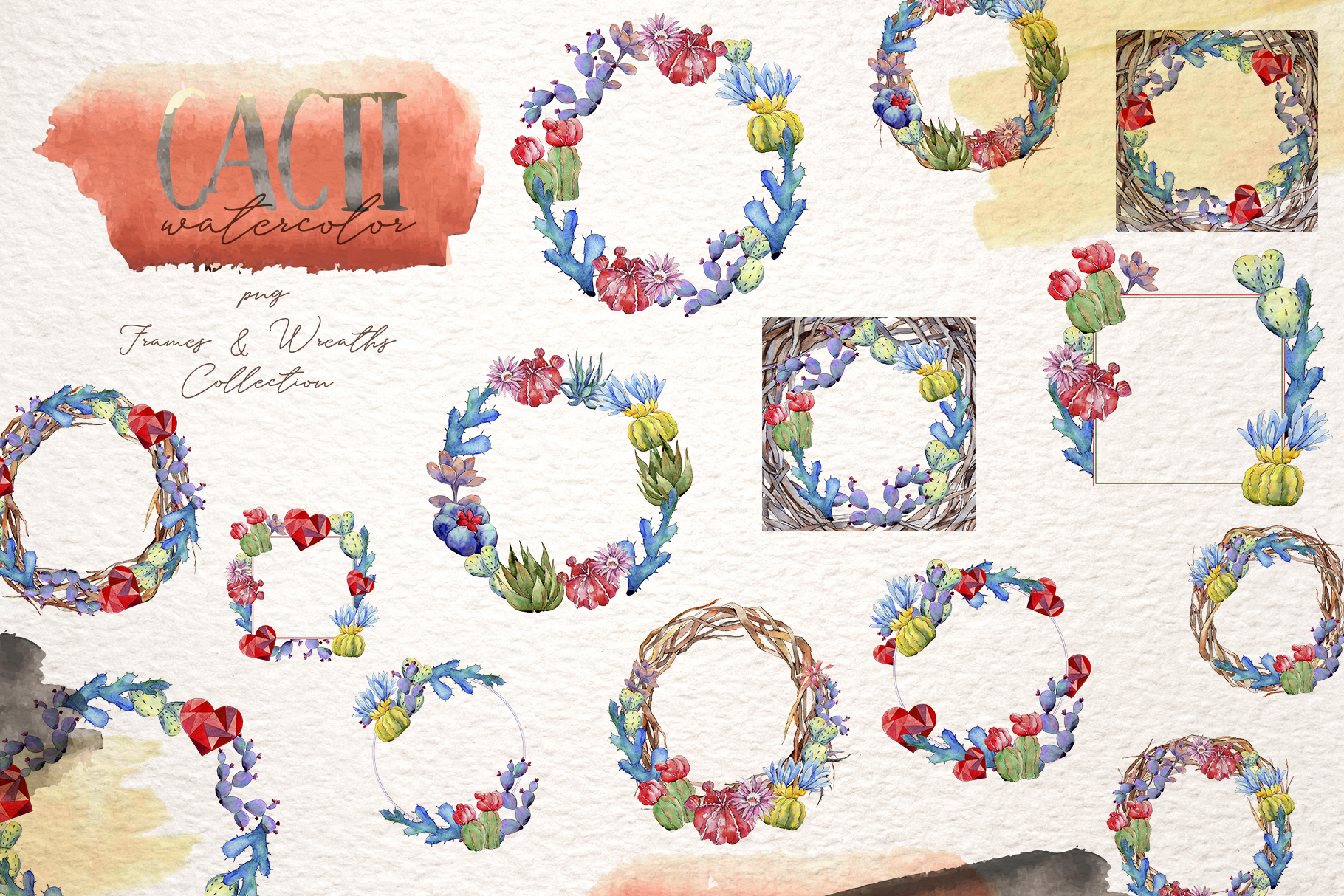 Cool colorful cacti PNG watercolor set example image 5