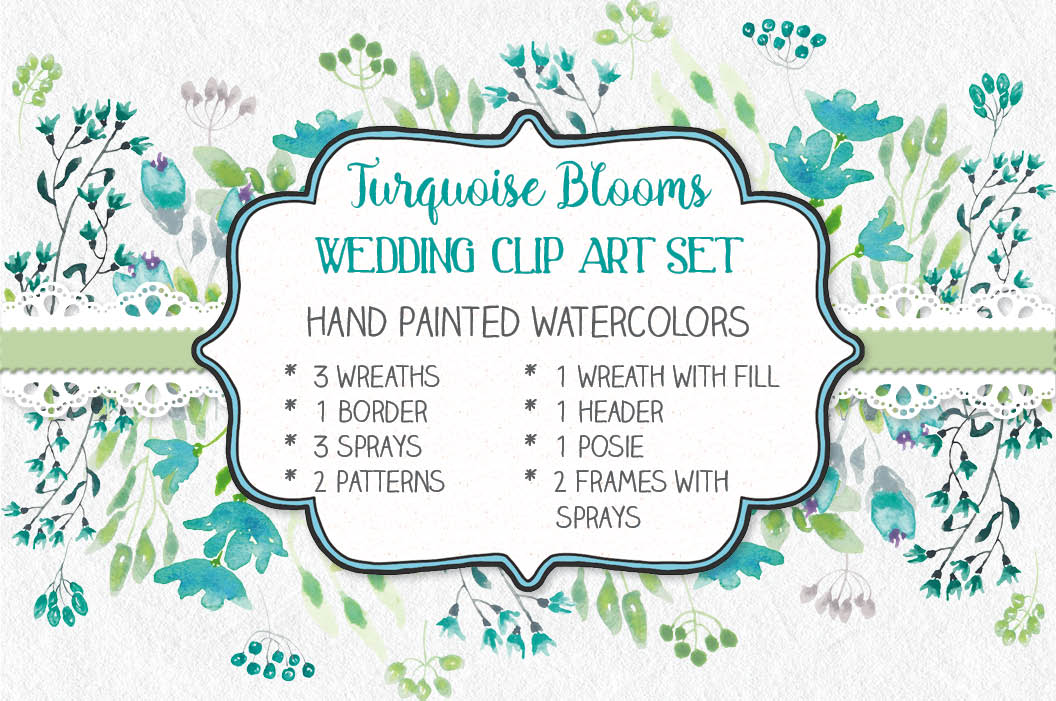 Watercolor clip art bundle: turquoise flowers example image 1
