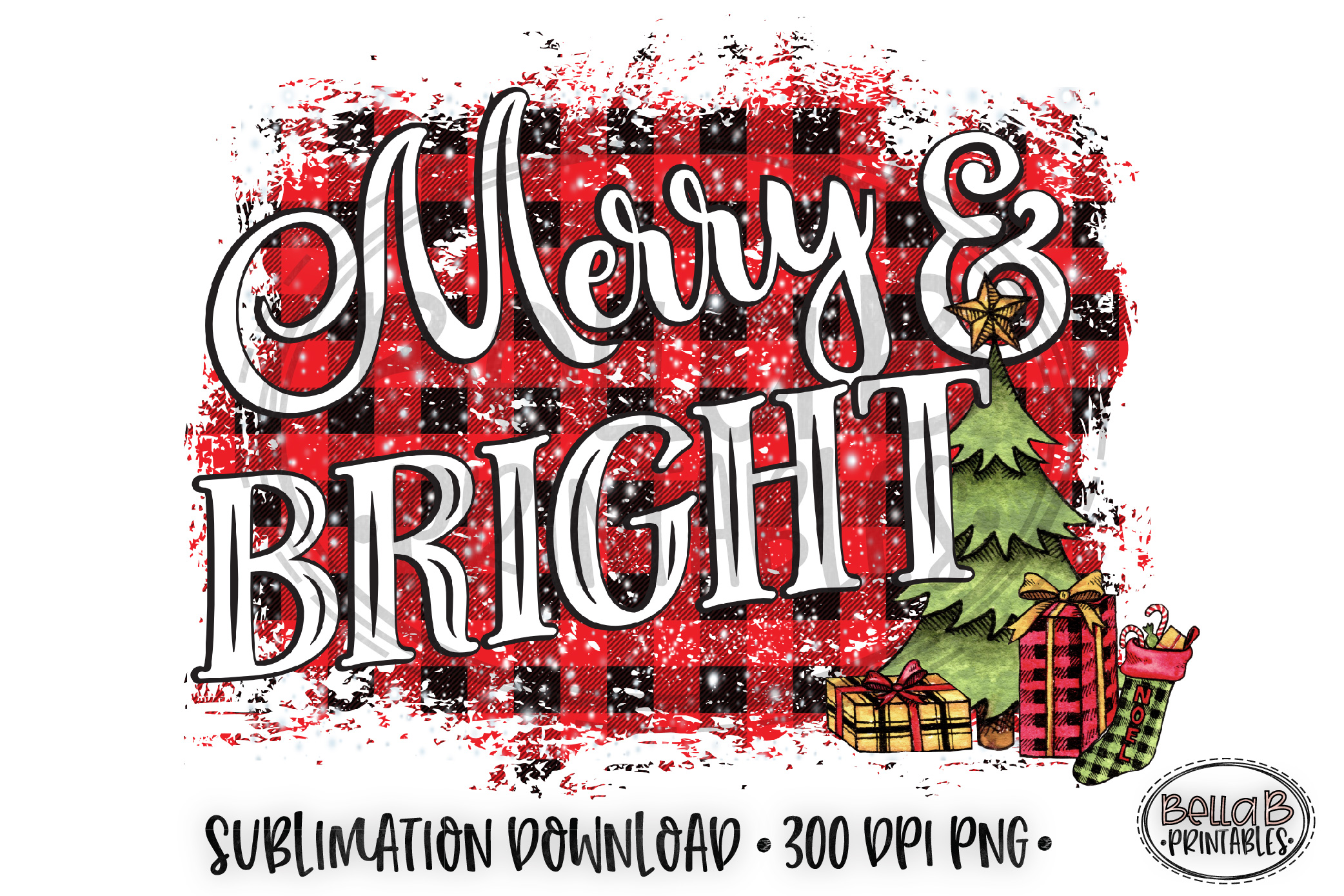 Christmas Sublimation Design, Merry and Bright Sublimation example image 1
