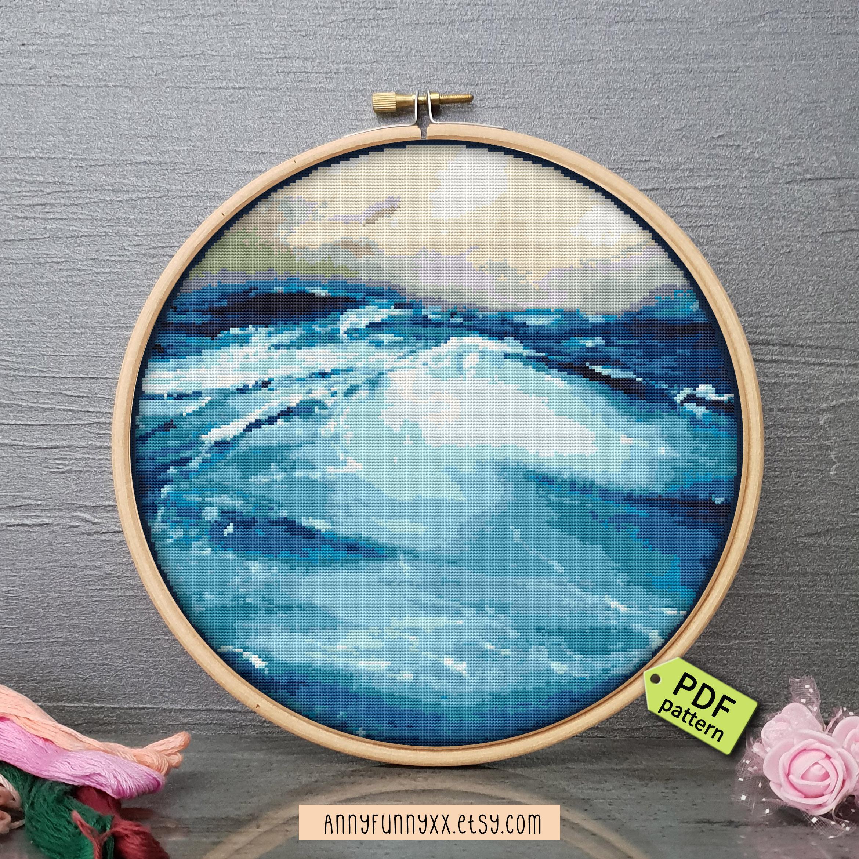 Cross stitch Fox Pattern Pdf, Blue ocean wave cross stitch example image 6