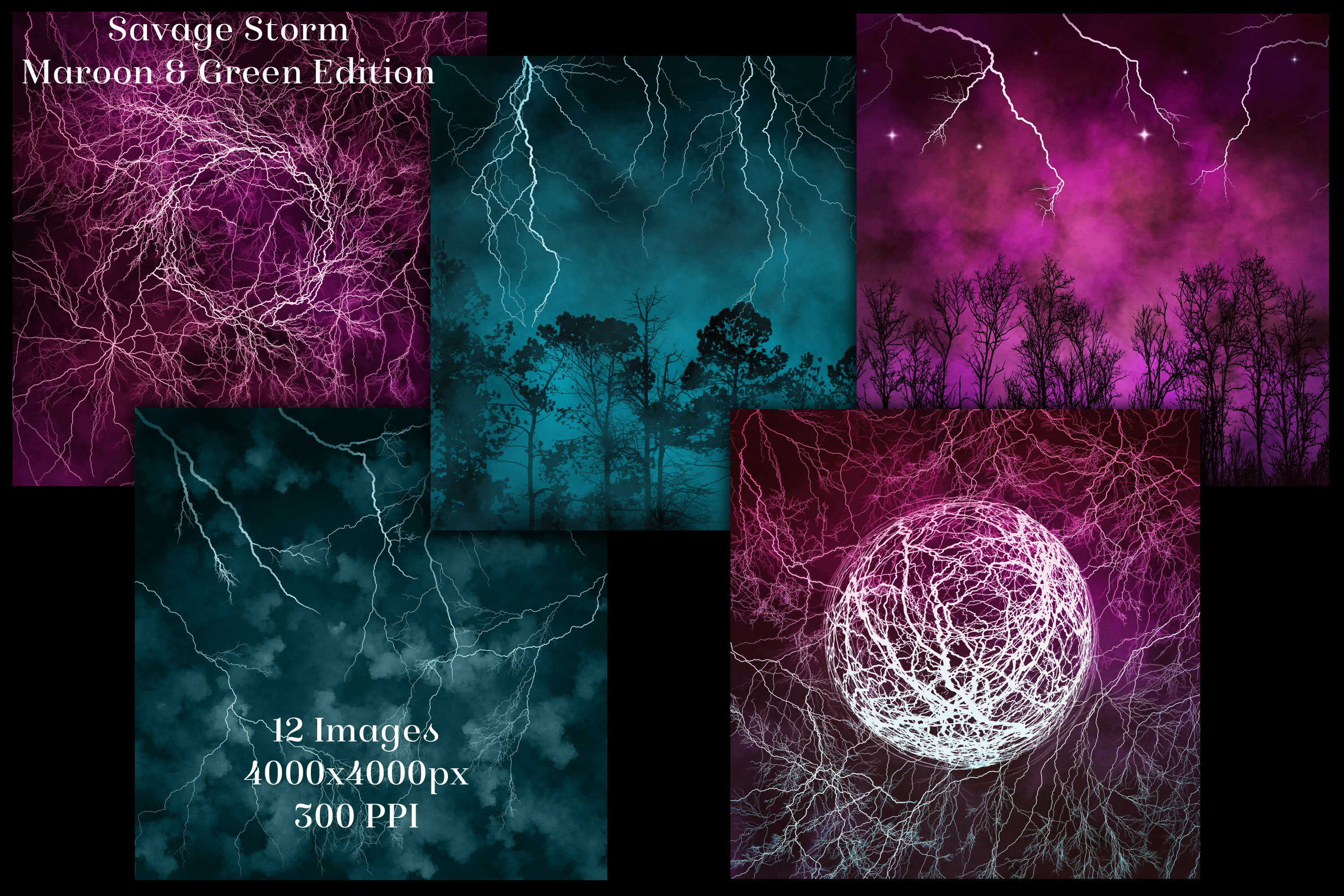Savage Storm Maroon and Green Edition Backgrounds Set example image 2