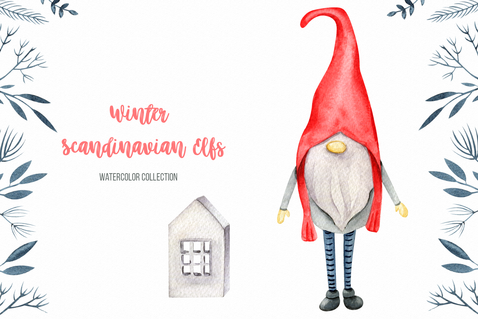 Winter Scandinavian Elfs, Nordic decor clipart watercolor example image 3