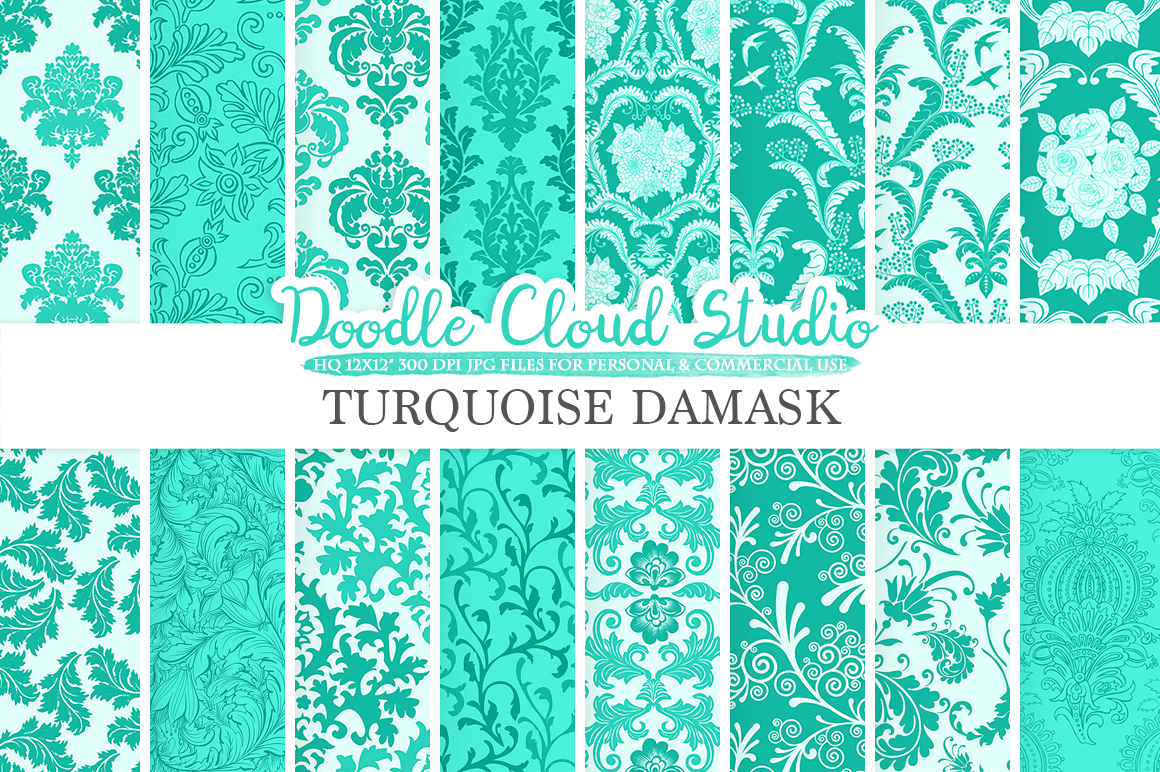 Aqua Damask digital paper, Swirls Turquoise patterns, Digital Floral Damask, Azure background Instant Download for Personal & Commercial Use example image 1