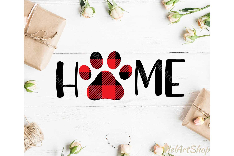 Home sign svg, Dog Paw svg, Buffalo plaid svg, Dog lover svg example image 2