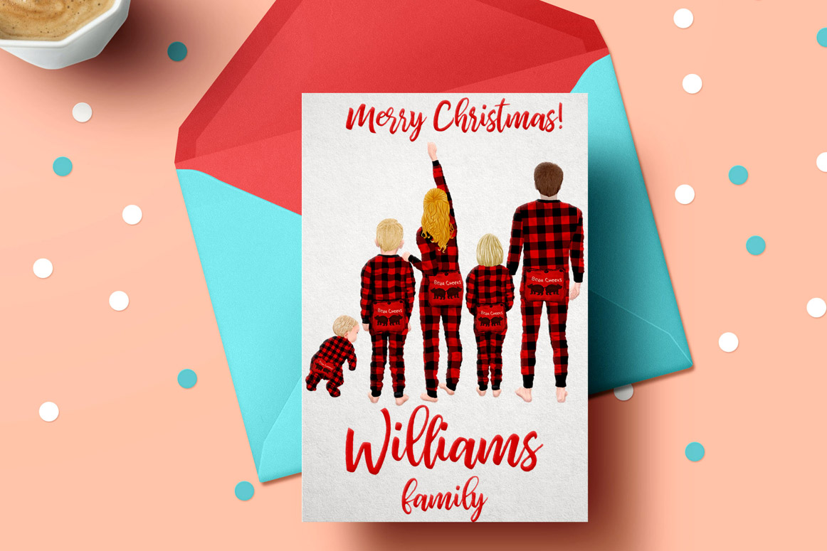 Watercolor Christmas Family Clipart, Christmas cards designs example image 3
