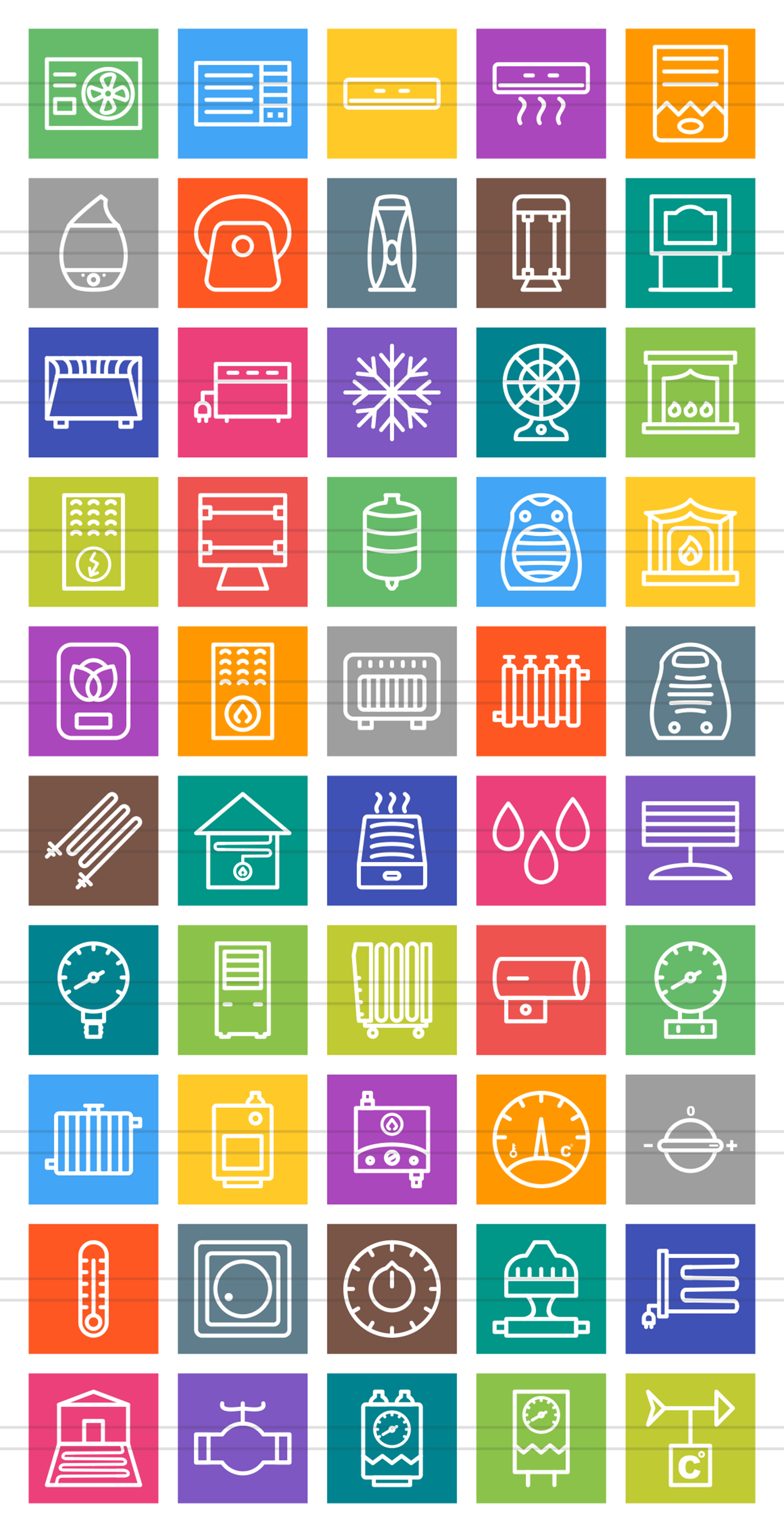 50 Climatic Equipment Line Multicolor B/G Icons example image 2