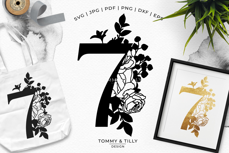 7 Floral Bouquet Number Design - Paper Cut SVG EPS DXF PNG example image 1