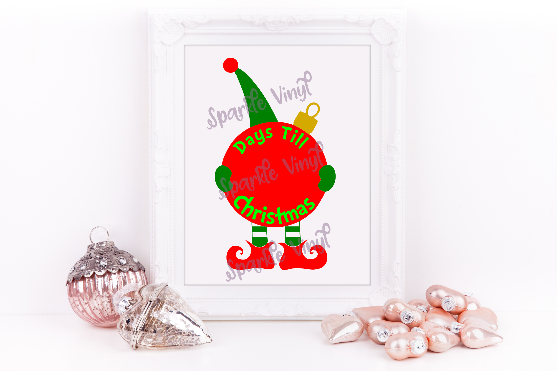 Svg Christmas Elf Countdown Advent sign picture printable svg cut file for cricut silhouette dxf eps png pdf, Elf clipart DIY Sign stencil example image 1