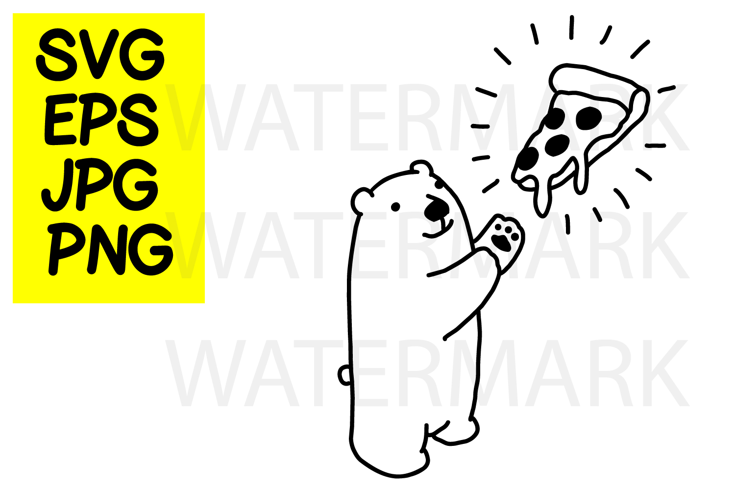 Bear with pizza- SVG-EPS-JPG-PNG example image 1
