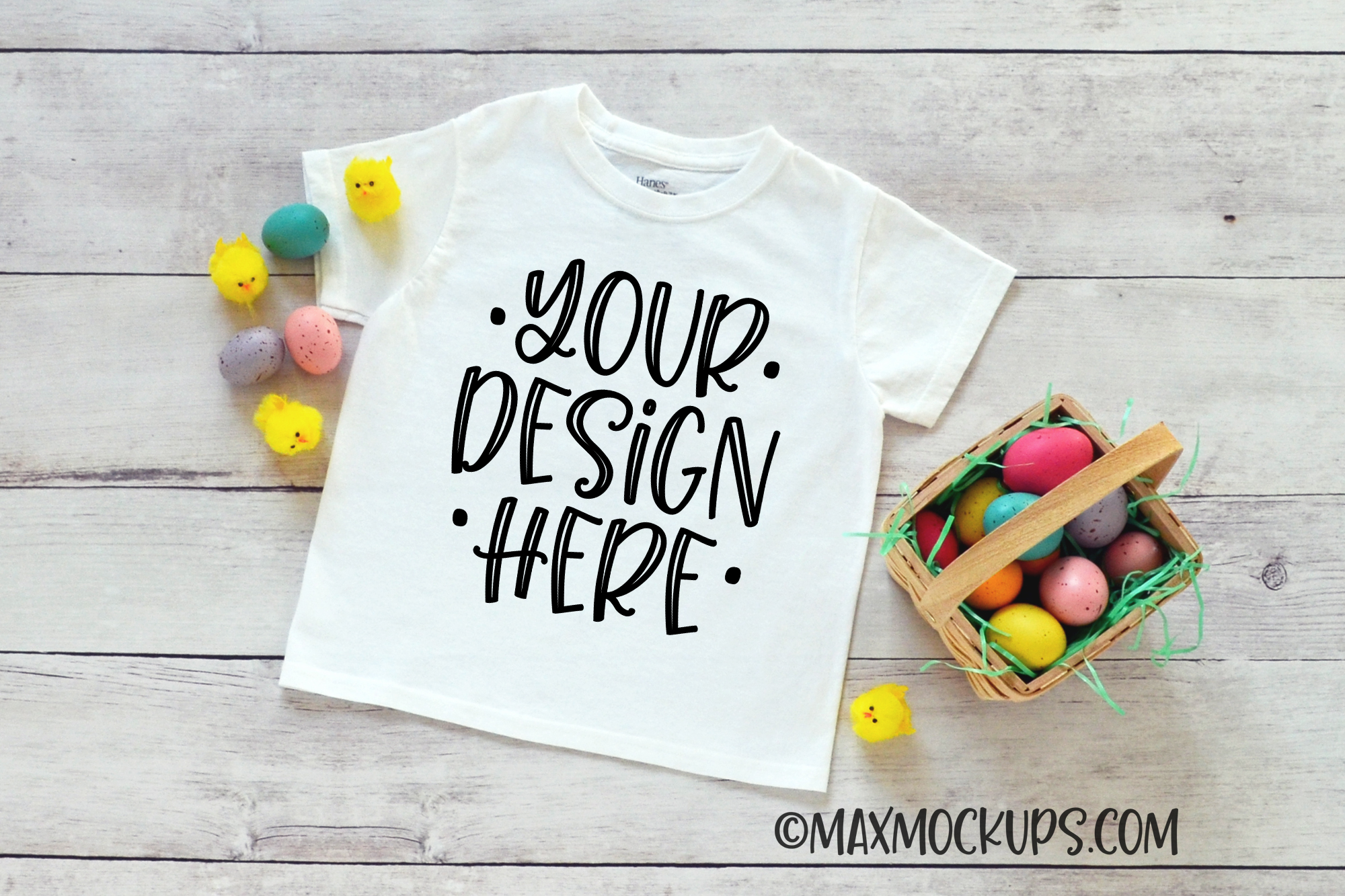 White kids shirt Easter mockup, Easter eggs and chicks example image 1
