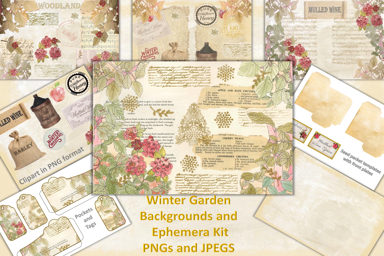 Winter Garden Backgrounds with Free Ephemera. Journaling Kit example image 1