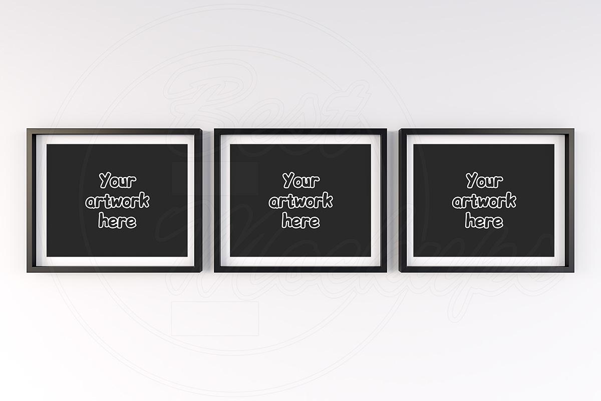 Three black and white mockup frame example image 1