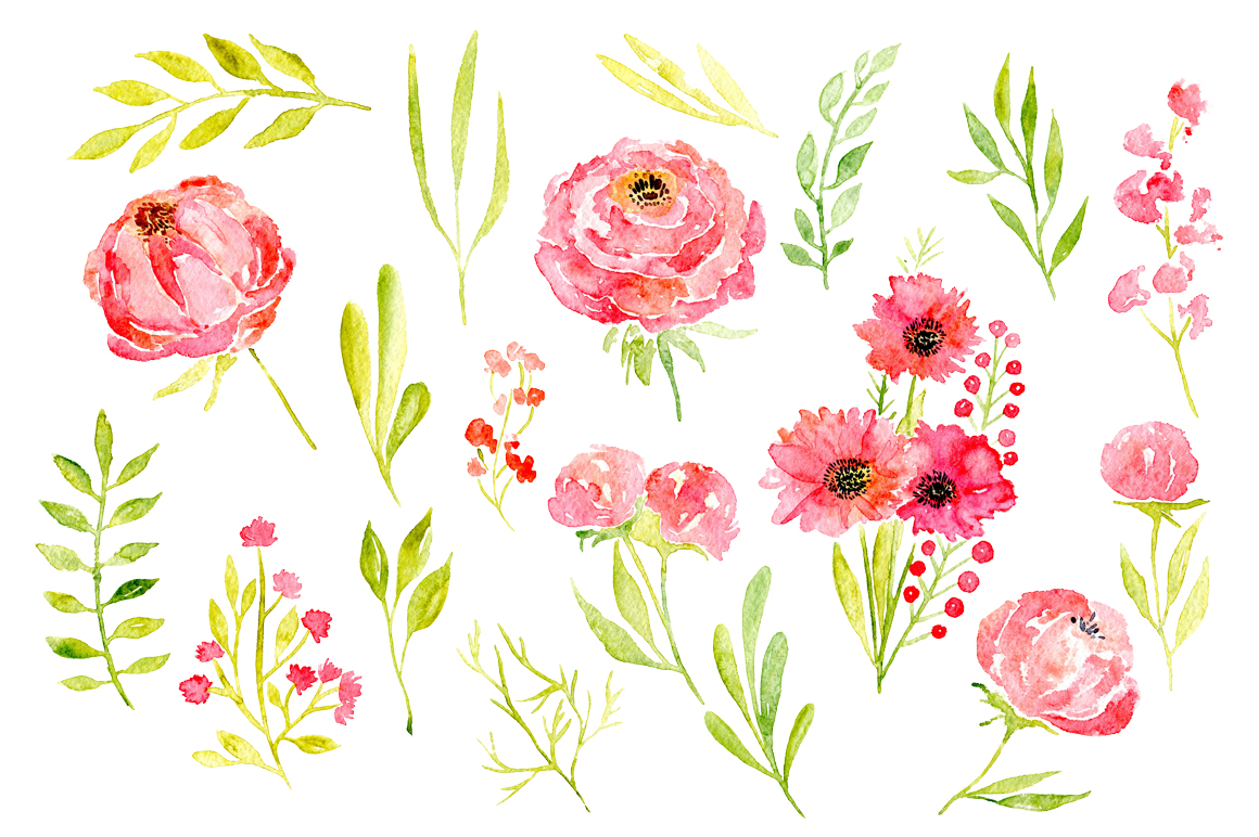 45 pink watercolor flowers and green leaves example image 4