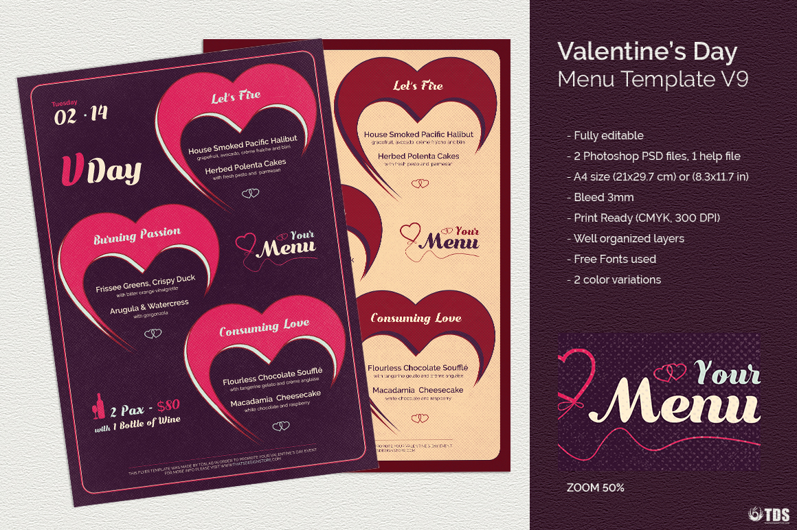 Valentines Day Menu Template V9 example image 1