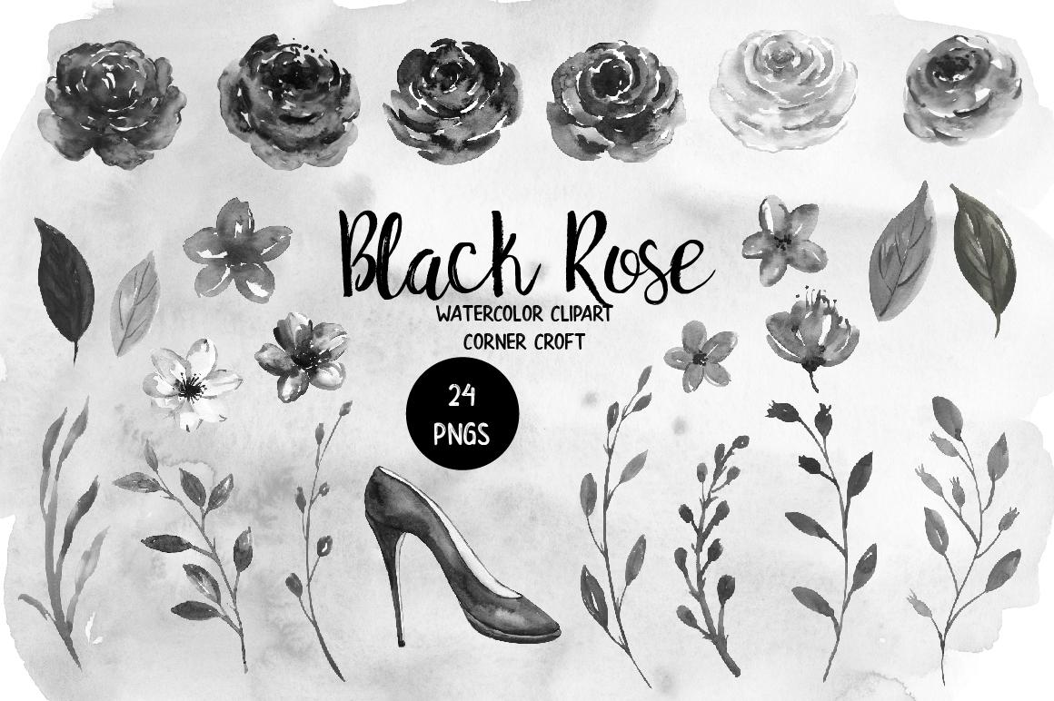 Watercolor Black Rose Clip Art example image 2
