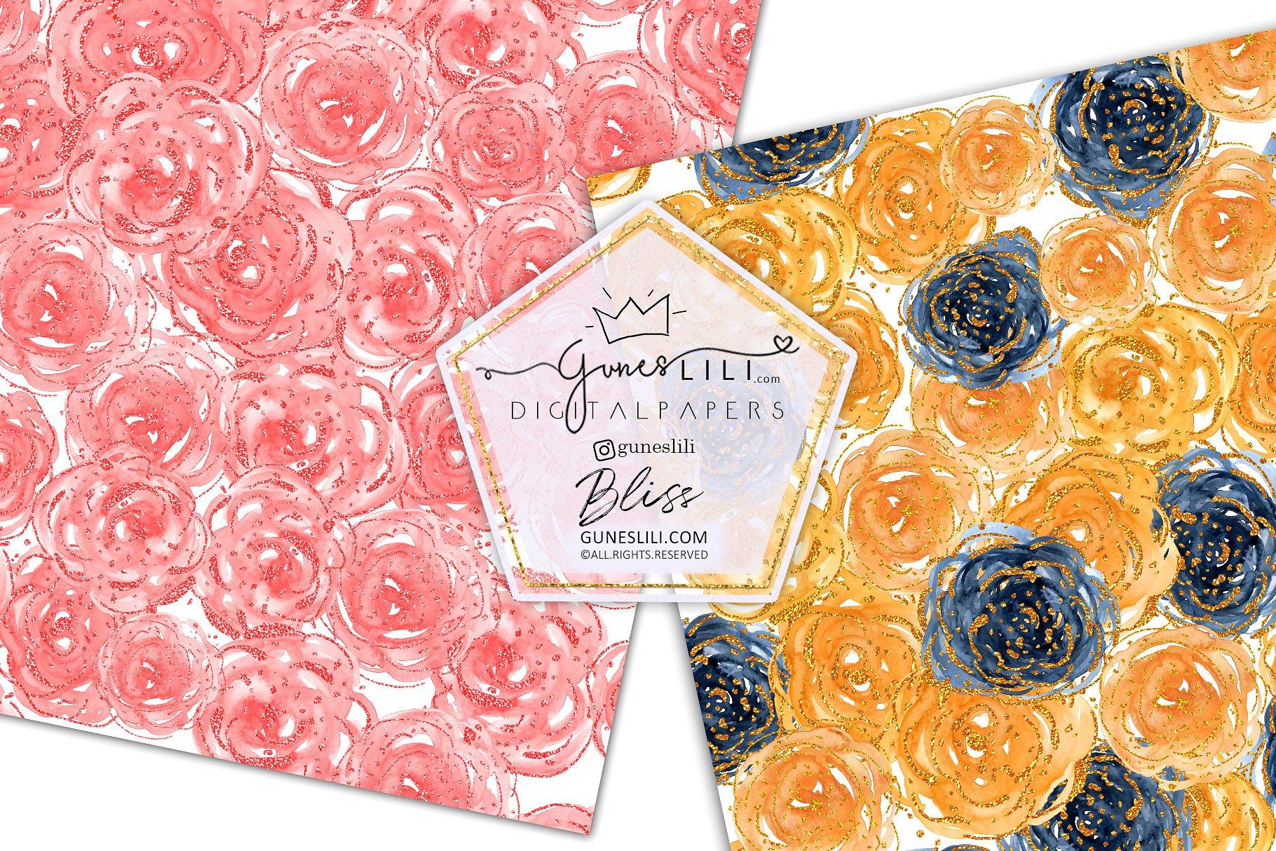Watercolor Floral Scrapbook Paper Seamless Pattern GunesLili example image 5