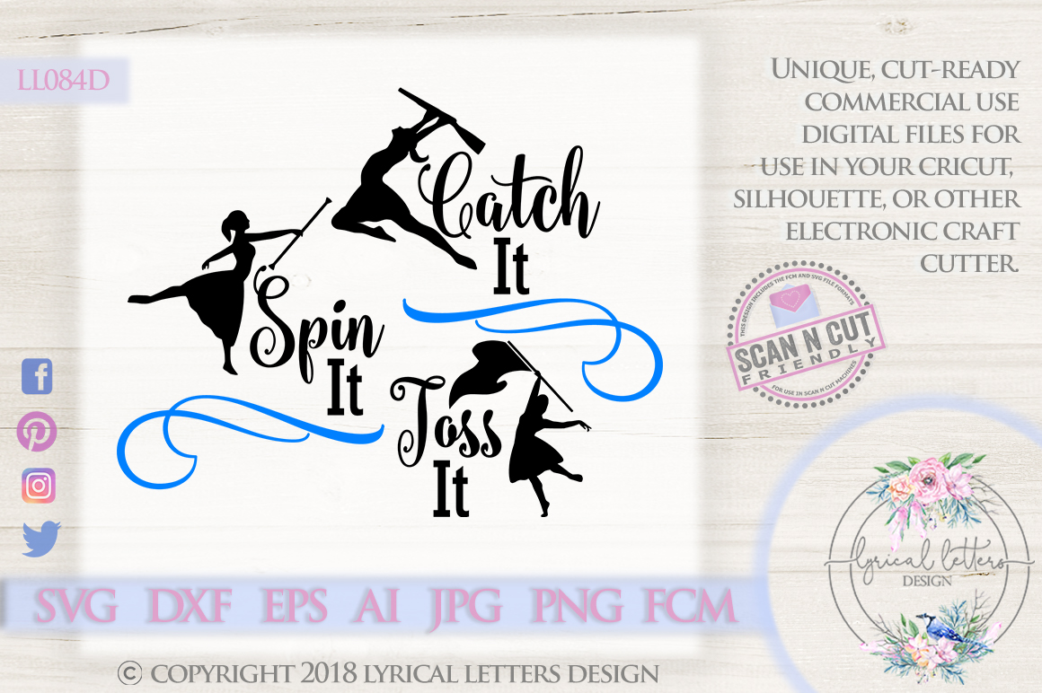 Catch It Spin It Toss It Color Guard SVG DXF Cut File LL084D example image 1