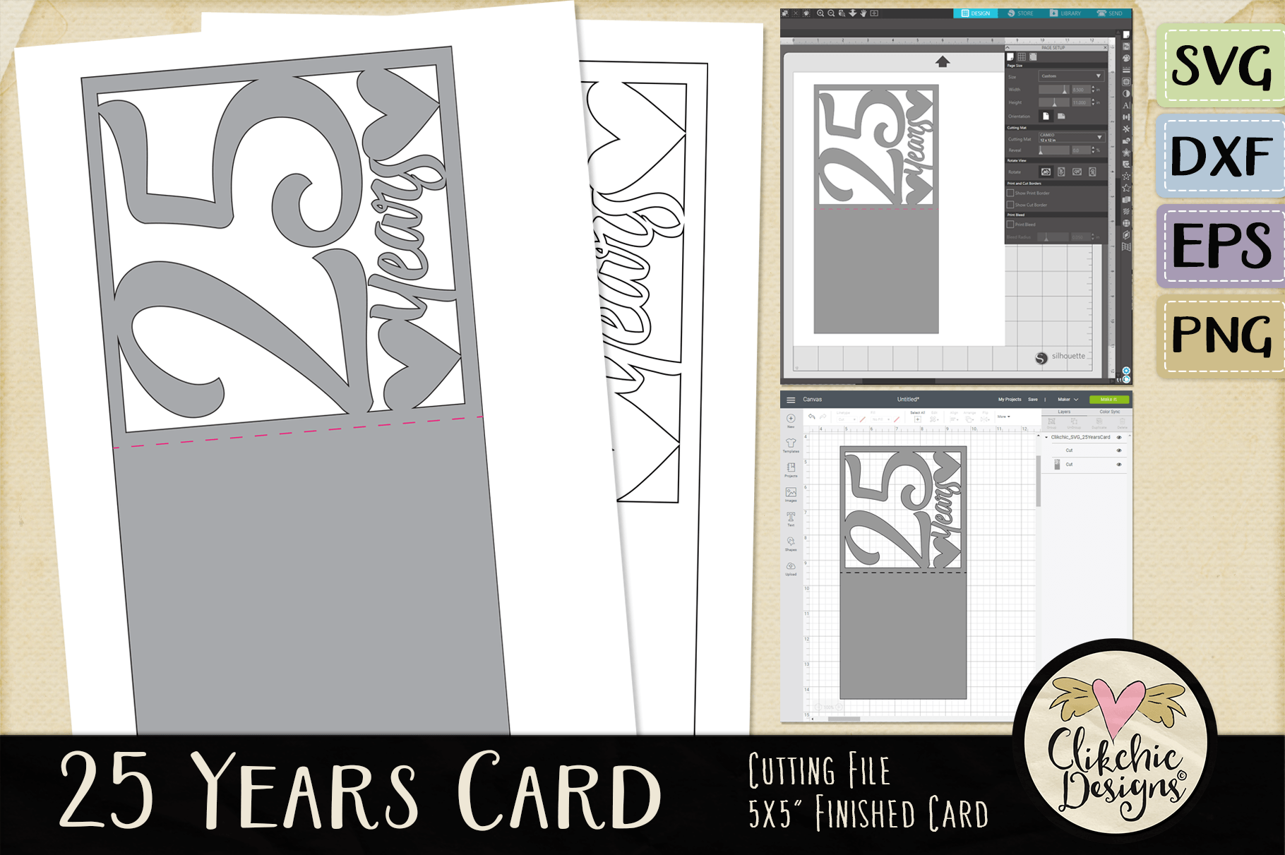 25 Years Anniversary / Birthday Card SVG - Card Cutting File example image 2